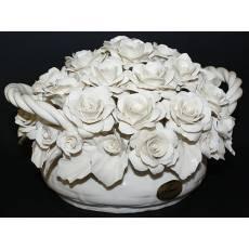 Декоративная корзина с розами Artigiano Capodimonte 0210/20