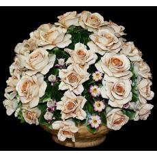 """Декоративная корзина """"Розы с мелкими садовыми цветами"""" Artigiano Capodimonte 2012/61"""