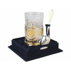 Набор: стакан с подстаканником и ложкой «Герб СССР» 82715