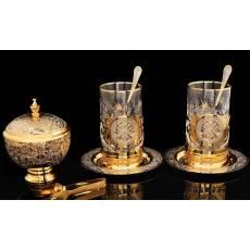 Набор чайный (2 подстаканника и сахарница) Златоуст Авторские работы RV0016867CG