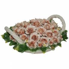 Декоративная корзина с розами Artigiano Capodimonte 0210/17/cream