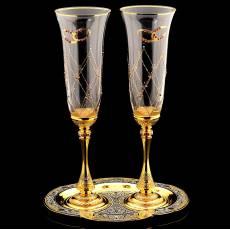 """Набор для шампанского """"Горько!"""" (2 бокала, поднос) Златоуст RV0028118CG"""