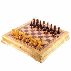 Шахматы деревянные из карельской березы (фигуры из янтаря) RV0052811CG