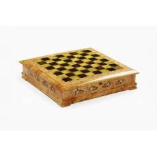 Янтарный шахматный ларец (Карельская береза) ES037