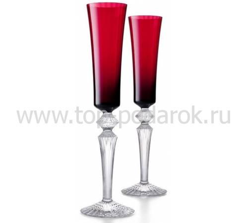 """Набор из 2-х красных бокалов для шампанского """"Mille Nuits"""" Baccarat 2810596"""