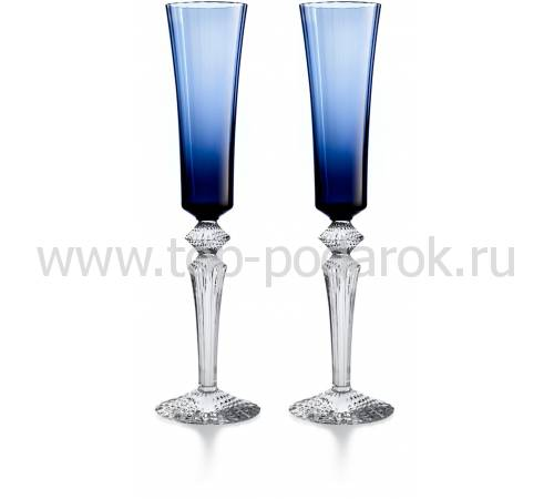 """Набор из 2-х темно-синих бокалов для шампанского """"Mille Nuits"""" Baccarat 2811226"""