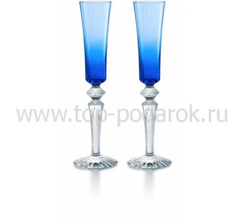 """Набор из 2-х синих бокалов для шампанского """"Mille Nuits"""" Baccarat 2811585"""